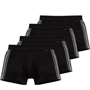 Schiesser 4er Pack Baumwolle Essentials Stretch Short Superleicht und formstabil, Kleines SCHIESSER-Logo am bequemen Softbund, In angenehm weicher, elastischer Single-Jersey-Qualität