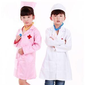 Kinderarzt Arzt / Krankenschwester Kostüm Laborkittel Arztkittel mit Kappe Uniform Pink + Weiß