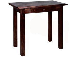 Esstisch mit Schublade Küchentisch Tisch Massiv Kiefer Speisetisch in versch. Größen (80x80, Nussbaum)