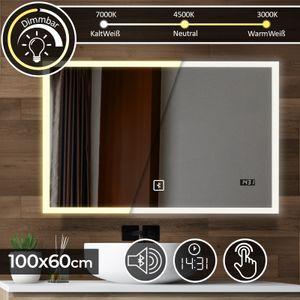 Aquamarin® Badspiegel mit LED Beleuchtung - 100 x 60 cm, EEK A++, Touchschalter, Dimmbar 3in1 Kaltweiß Neutral Warmweiß, Digitaluhr, Bluetooth - Badezimmerspiegel, Lichtspiegel, LED Spiegel