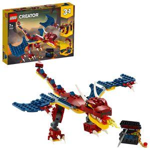 LEGO 31102 Creator 3in1 Feuerdrache - Säbelzahntiger - Skorpion, Spielzeug mit Drachen und exotischen Tieren für Mädchen und Jungen ab 7 Jahre