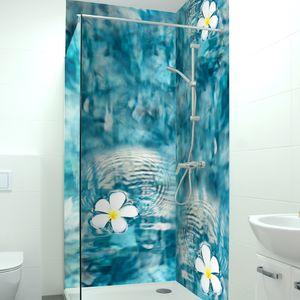 Premium Duschrückwand 0,4 mm selbstklebendes Hart-PVC, Größe:2 x B 103 x  H 240 cm, Motiv:Bluete Pool