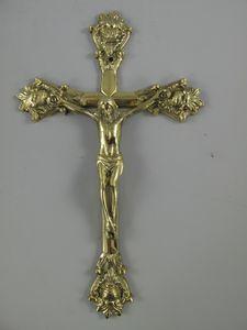 Kruzifix, Jesus am Kreuz, massives Messing Kreuz im Antik-Stil 32 cm