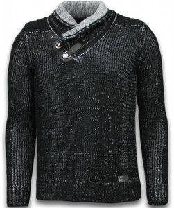 Gestrickt Pullover - Schalkragen Zipper - Schwarz - M