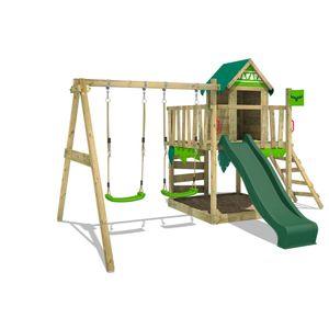 FATMOOSE Spielturm Klettergerüst JazzyJungle mit Schaukel & grüner Rutsche, Spielhaus mit Sandkasten, Leiter & Spiel-Zubehör