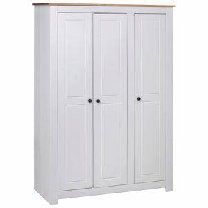 vidaXL Kleiderschrank 3-Türig Weiß 118×50×171,5 cm Kiefer Panama Serie