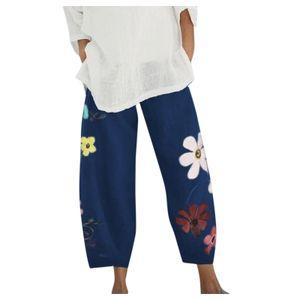 Damen Lady Casual Flowers bedrucken Hosen mit elastischer Taille und weitem Bein Größe:M,Farbe:Blau