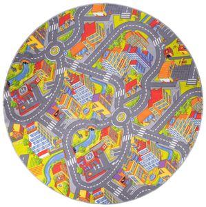 Straßenteppich rund 200 cm Kinderspielteppich Kinderteppich City Autoteppich Stadt Straßenlandschaften Spielteppich