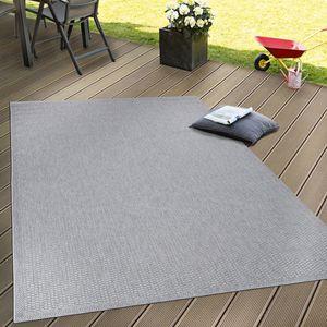In- & Outdoor Flachgewebe Teppich Terrassen Teppiche Natürlicher Look In Grau, Grösse:140x200 cm