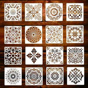 16 Stück Malschablonen Hohle Mandala Vorlagen Scrapbooking DIY Tools