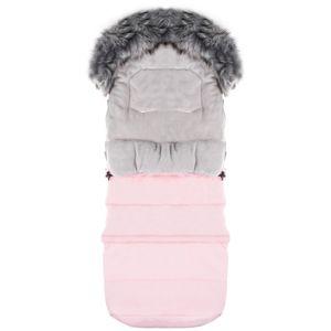 Fußsack Weich 120cm Winterfußsack Kinderwagen- Babyschale Babyfußsack Zip - Rosa