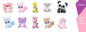 Affe, Giraffe,Einhorn,Elefant,Panda Bär,Eichhörnchen,Hase -  Baby Beißring (1er Pack)
