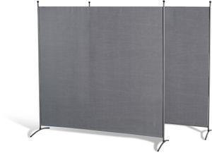 Grasekamp Doppelpack Stellwand 180x180 cm - grau -  Paravent Raumteiler Trennwand  Sichtschutz