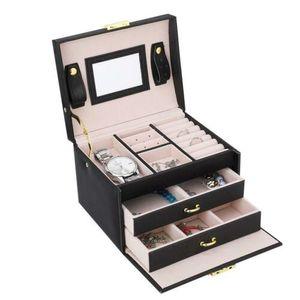 Schmuckkasten 2 Schubladen Schmuckkoffer Schmuckschatulle Schmuckkasten Aufbewahrungsbox Schwarz