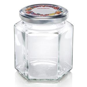 Leifheit Sechskantglas, Einfachmachglas, Marmeladenglas, Konfitüre Glas, 314 ml, 03210