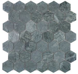 Mosaik Fliese Marmor Naturstein Hexagon Marmor grün MOS44-0210_f