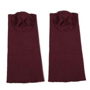 Kunst und Magie Damen Armstulpen aus Fleece Stulpen Handwärmer Handschuhe Boho, Farbe:Bordeaux