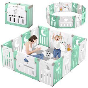 Dripex Laufgitter Laufstall Baby Absperrgitter 14-Paneele Schutzgitter Krabbelgitter für Kinder aus Kunststoff mit Tür und Spielzeugboard Grün-Weiß