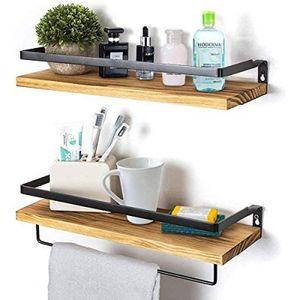 Wandregal Holz Schweberegal Hängeregal Wandboard 2er Set, Ideal für Wohnzimmer Schlafzimmer Flur Badezimmer Küche