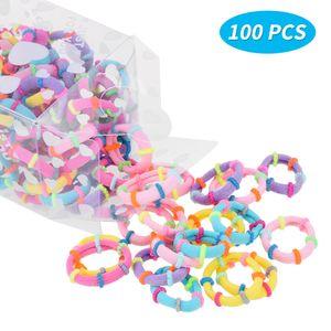 Haargummis für Kinder Mädchen Baby Elastische Haarbänder 100 Stück Gummibänder Multi Candy