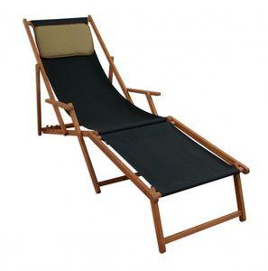 Liegestuhl Sonnenliege schwarz Fußablage Kissen Gartenliege Holz Deckchair Gartenmöbel 10-305FKD