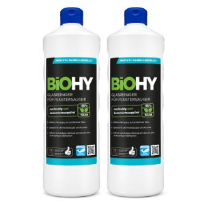 BiOHY Glasreiniger für Fenstersauger (2x1l Flasche)   geeignet für alle Fenstersauer   sorgt für strahlenden Glanz auf allen glatten Flächen   für eine klare und streifenfreie Reinigung