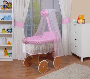 WALDIN Baby Stubenwagen-Set mit Ausstattung,XXL,Bollerwagen,komplett,24 Modelle wählbar, Größe:Gestell/Räder lackiert, Farbe:rosa/weiß