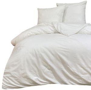 Bettwäsche 200x200 + 80x80 cm Baumwolle Renforce Weiß Uni mit Reißverschluss, 3-tlg