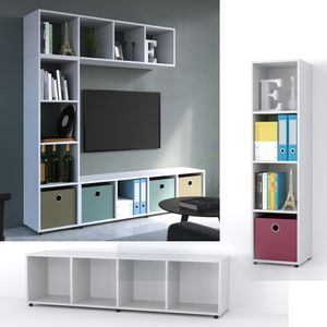 Vicco Raumteiler 4 Fächer Weiß 144 x 36 cm - Standregal Hängeregal Regal TV Lowboard Sideboard