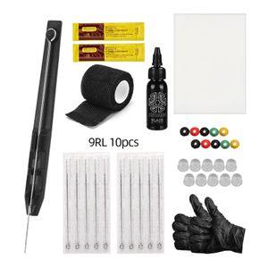 Hand Poke and Stick Tattoo Kit DIY Tattoo Supply Tintenhandschuhe Ink Box Tattoo Nadeln Set uebung Haut Tattoo Reparaturcreme 9RL * 10pcs Nadel
