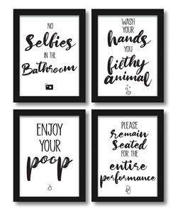Premium 4er-Set lustige Bad WC Sprüche | Badezimmer Toilette Zitate - Deko Bild | Kunstdruck A4 Poster witzig - ohne Rahmen