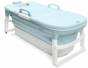 Faltbare Badewanne Erwachsene Kinder 138x62x52cm Umweltschutz  tragbare Klappbadewanne Wanne für kleine Badezimmer(blau mit Deckel