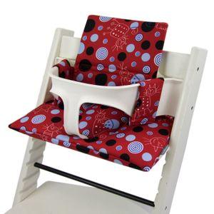 BAMBINIWELT Ersatzbezug, Kissen-Set für Hochstuhl Kinderstuhl Stokke Tripp Trapp, Sitzverkleinerer, DESIGN rot blau Katze