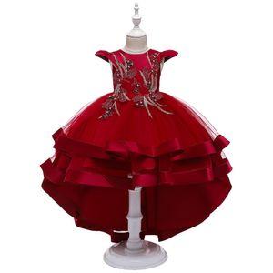 Kinder Partykleid Blumenmädchen Tüll Prinzessin Tutu Spitzen Hochzeit Abendkleid, Rot, 3-4 Jahre