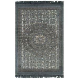Hochwertigen- Designer Kelim-Teppich Webteppich Baumwolle 120x180 cm mit Muster Grau