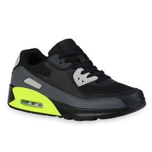 Mytrendshoe Herren Sportschuhe Laufschuhe Flache Schnürer Sportliche Schuhe 835896, Farbe: Schwarz Neon Grün Grau, Größe: 43