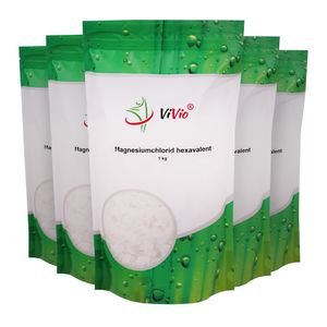 Magnesiumchlorid Hexahydrat 5x1kg - höchste Qualität Badesalz - VIVIO