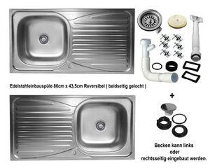 Einbauspüle 86x43,5cm reversible Küchenspüle Edelstahlspüle Spülbecken 1 Becken mit Abtropffläche
