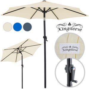 Sonnenschirm ALU Ø200cm Neigefunktion Handkurbel Sonnenschirm Gartenschirm , Farbe:beige