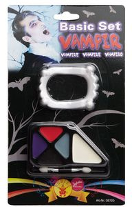 Vampir, mit Fangzähnen, Schminke und Applikatorpinsel, Halloween-Schminke
