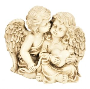 Engelspaar mit Herz Figur sitzend ca. 21,5 cm Engelfiguren Paar Engel