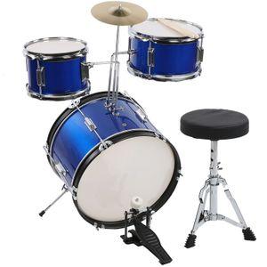 16 zoll Kinder Schlagzeug Drum Set mit Hocker Trommel Becken Sticks Musik Instrument Spielzeug