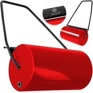 KESSER® - Rasenwalze 60cm 48l Füllvolumen Metall mit Schmutzabweiser Handwalze Rasenroller Gartenwalze Ackerwalze Walze befüllbar mit Wasser/Sand 60 kg, Farbe:Rot