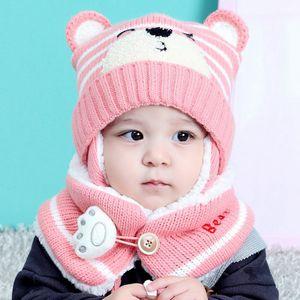 (Rosa)Kinder Mützen Mütze Set Baby Kinder Cartoon Design Streifen Strick Fügen Sie Samt Hut und Schal Winter Warm Suit Set