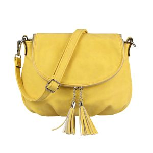 OBC Damen Tasche Crossbody Bag Henkeltasche Handtasche Umhängetasche Schultertasche Fransen Cross-Over Clutchtasche Leder Optik Gelb