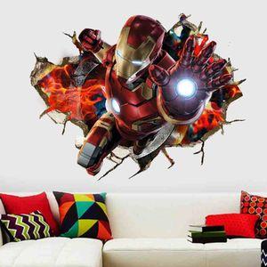 3D Wandaufkleber Knacken Ironman Marvel-Superhelden Avengers