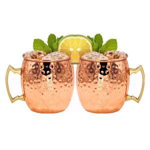 2 Stück Moscow Mule Becher Tassen Kupferbecher Cocktai Drink Tasse Becher für Beer Party Becher Kupfer Becher Bar Set