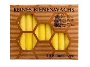 Bienenwachs Baumkerzen, 95 x 13 mm, 20 Stk., honiggelb