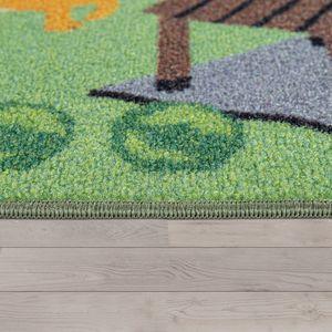 Kinder-Teppich Für Kinderzimmer, Spiel-Teppich, Zoo Mit Tiger, Bär, Löwe, Bunt, Grösse:140x200 cm