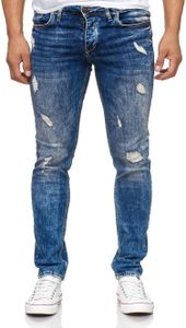 Reslad Jeans Herren Destroyed Look Slim Fit Denim Stretch Jeans-Hose Blau (2069) W30 / L32